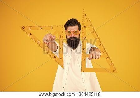 Power Knowledge. Bearded Nerd Triangle. Smart Student. Geometry Teacher. Student Using Measuring Ins
