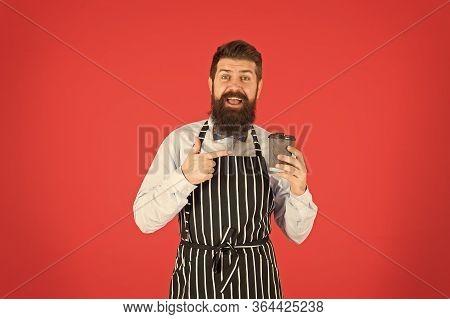 Fresh Coffee Here. Male Drink Coffee. Bearded Man Hold Take Away Coffee. Brutal Waiter In Cafe. Matu