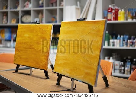 Prepared Canvases On Easels In An Art Room
