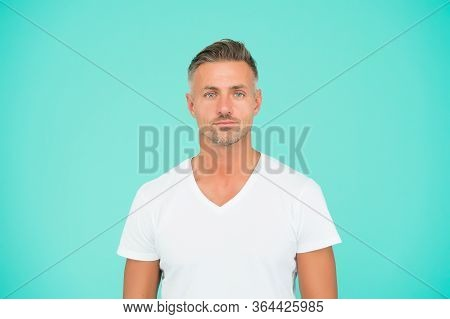 Super Dude. Man Abstract Blue Background. Caucasian Middle Age Man. Handsome Man In Casual Style. Fa