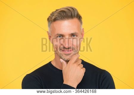 His Beard Is Unshaven. Unshaven Man Yellow Background. Unshaven Look Of Mature Model. Handsome Adult
