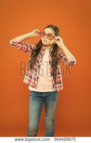 Sunglasses Fancy Accessory. Improve Eyesight. Girl Kid Wear Eyeglasses. Optics And Eyesight Treatmen