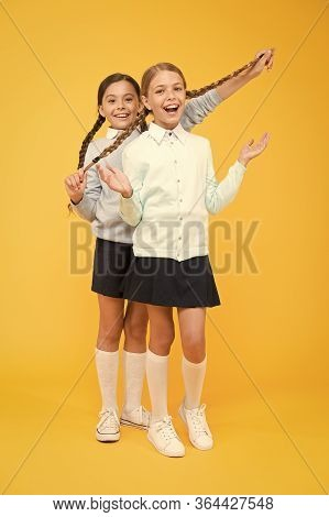Cheerful Mood Concept. My Dear Friend. First School Day. Sisterhood And Friendship. School Friendshi