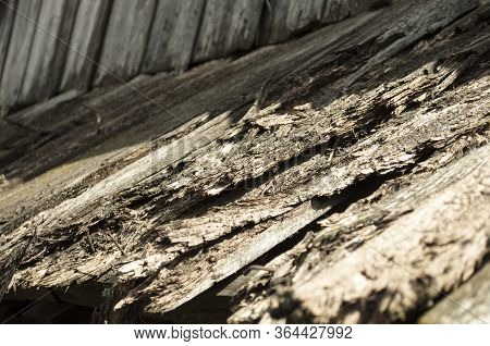 Old Rotten Wooden Roof On A Sunny Day With Shadow From Above Old  Damaged Board, Background, Prospec