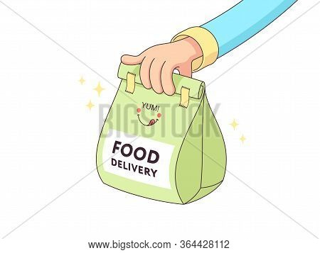 Online Food Delivery. Courier Delivers Paper Package With Foodstuff. Fast Delivery Service. Human Ca