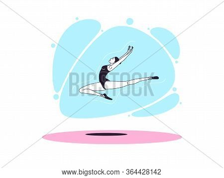 Graceful Ballerina Woman In Outline Minimalist Style. Ballet Dancer Jumps And Flies In The Air With