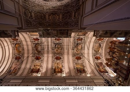 Feb 3, 2020 - Salzburg, Austria: Ceiling Mural Of Nave And Aisle Inside Salzburg Cathedral Aisle Wit