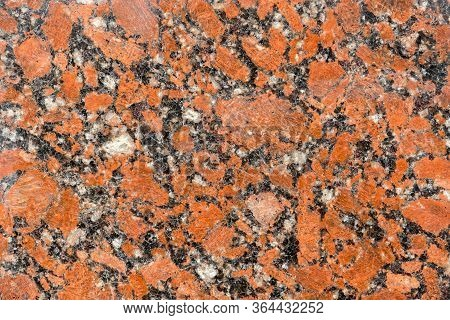 Natural Drawing Of Granitic Surface With Rich Red Hue, Coarse-grained Structure With Small Inclusion