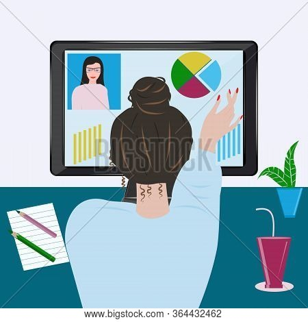 Woman At The Desktop, Computer, Customer Contact - Vector. Stay At Home. Quarantine. Online Lesson.