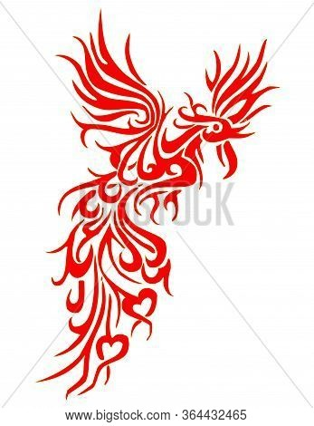 Phoenix With Wings Spread Out And Head Lowered