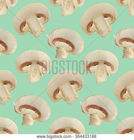 Champignon Mushroom Plant Food Macro Photo Seamless Pattern Texture Background