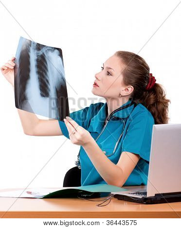 Medical doctor analysing x-ray photography on white background