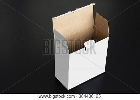 Cubical White Box With Open Door On Black Background, Mock Up Template