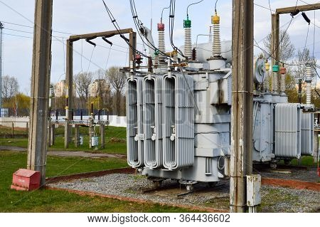 Large Industrial Iron Metal Transformer Substation With Transformers And High-voltage Electrical Equ