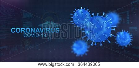 Covid-19 Bacteria With Blur Effect. Coronavirus Healthcare Banner With 3d Microbe On Polygonal Futur