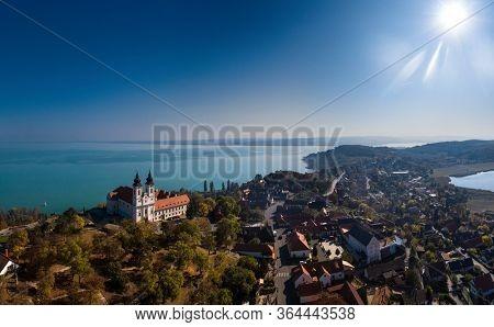 Tihany landscape with the abbey, lake Balaton, Hungary.
