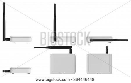 Internet Of Things Gateway Access Point Isolated On White.3d Rendering