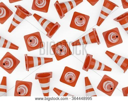 Orange Traffic Warning Cones Or Pylons Background On White Background Flat Lay Top View From Above -