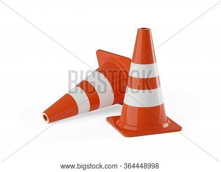 Two Orange Traffic Warning Cones Or Pylons On White Background - Under Construction, Maintenance Or