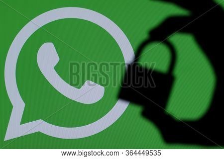 London, Uk - March 29th 2017: Whatsapp Icon With Padlock Silhouette
