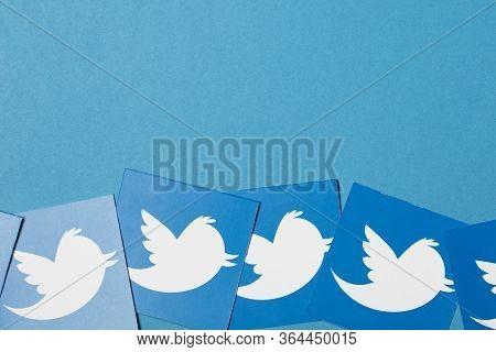 Oxford, Uk - Jan 7 2017: Twitter Social Network Brand Logo Printed Onto Paper
