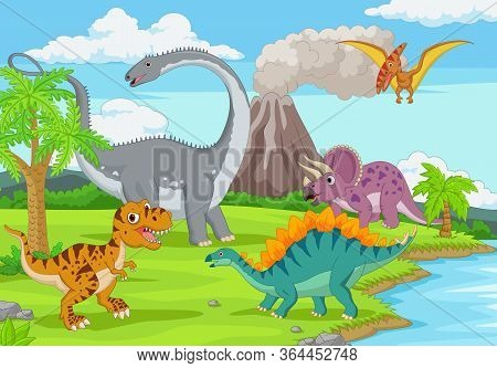 Vector Illustration Of Group Of Funny Dinosaurs In The Jungle