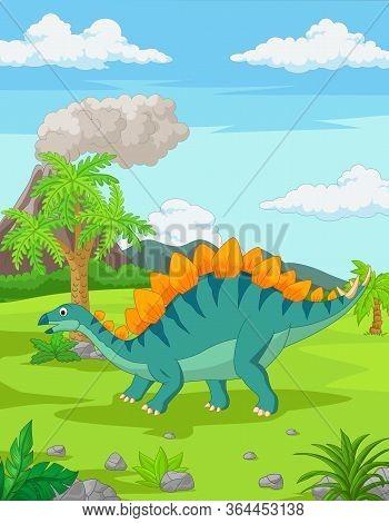 Vector Illustration Of Cartoon Stegosaurus In The Jungle