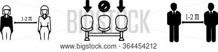 Social Distancing Icon Isolated On Background  Threat, Vector, Virus, Warning