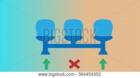 Social Distancing Icon Isolated On Background , Threat, Vector, Virus, Warning