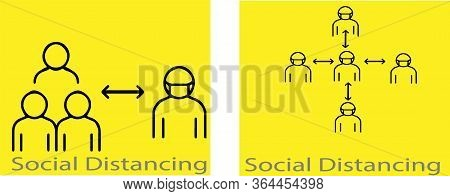 Social Distancing Icon Isolated On Background  Symbol, Threat, Vector, Virus, Warning