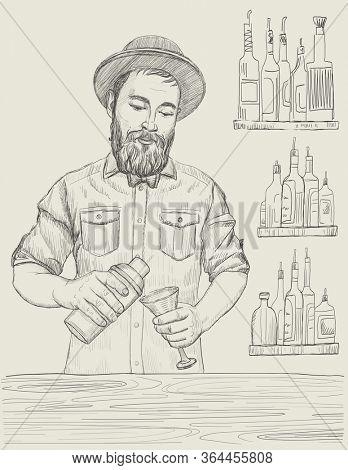 Barmen mixing cocktail, graphic sketch illustration, rasterized version