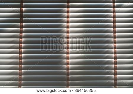 Close Up. Vintage Wooden Shutters Blinds (windows Blinds) With The Light Sunshine.
