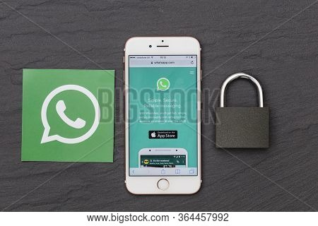 London, Uk - March 2017: Whatsapp Messaging App On A Smartphone With A Padlock.