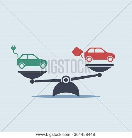 Electric Car Versus Gasoline And Diesel Car On Scales. Vector Simple Flat Symbol