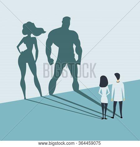 Doctors Looking At Superhero Shadow On The Wall. Hospital Staff, Nurses Heroes Fight Coronavirus Pan