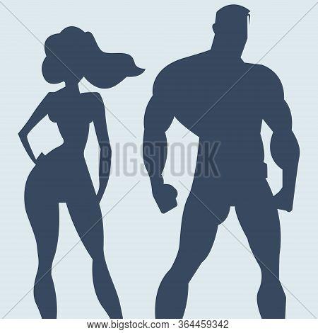 Superhero Couple. Silhouette Man And Woman Superheroes. Vector Illustration In Dark Color