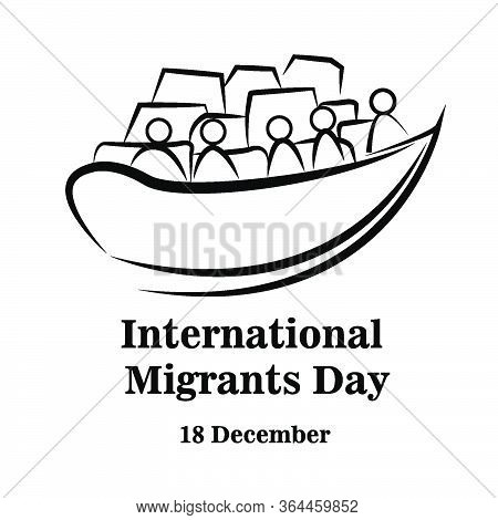 Illustration Immigrant Go Leave To Other Country With Ship Boat. International Migrants Day Global M