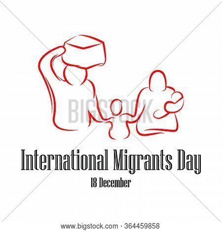 Family Go Leave Country. International Migrants Day Global Migration Concept Illustration 18 Decembe