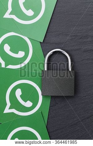 London, Uk - March 29 2017: Whatsapp Social Media Logo With A Security Padlock