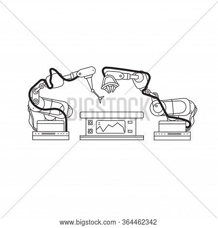 Automated Factory Equipment Vector Linear Style Illustration. Industrial Machines, Automated Product