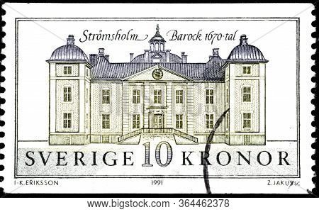 02 09 2020 Divnoe Stavropol Territory Russia The Postage Stamp Sweden 1991 Stremsholm Palace Old Bui