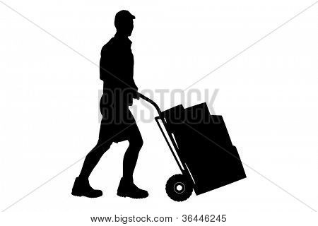 Silhouette of a delivery man pushing a cart with boxes isolated on white background