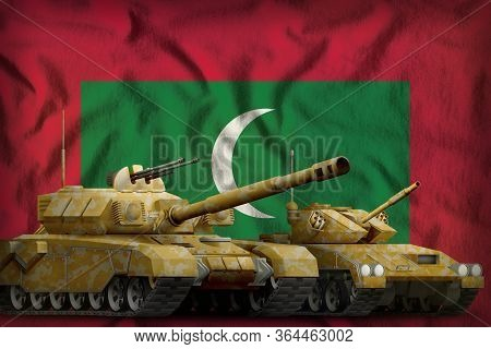 Tanks With Orange Camouflage On The Maldives Flag Background. Maldives Tank Forces Concept. 3d Illus