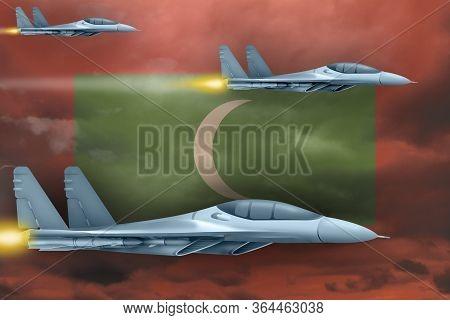 Maldives Air Strike Concept. Modern War Airplanes Attack On Maldives Flag Background. 3d Illustratio