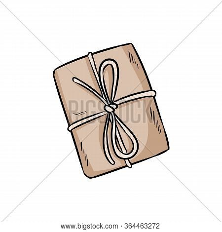 Craft Brown Paper Box Doodle. Hand Drawn Gift Box Rustic Present. Isolated Vector Image. Gift Shop L