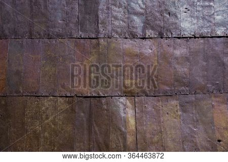 Oxidized, Rusty, Old, Corrugated Metal Texture Background.