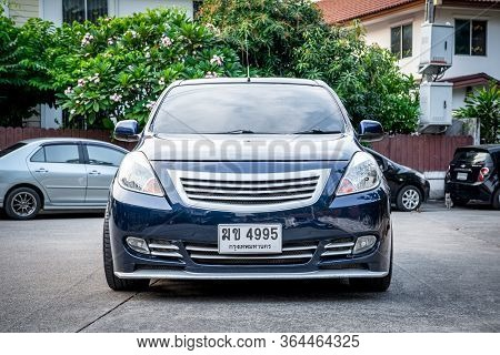 Bangkok, Thailand - January 12, 2020 : Nissan Almera, An Eco Car Sedan In Thailand, Is Being Posted