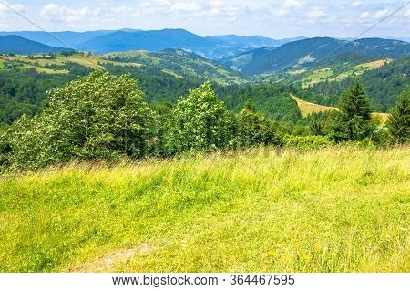 Mountain Landscape In Summer. Blue Sky With Fluffy Clouds. Green Grass On The Meadows. Hills Rolling