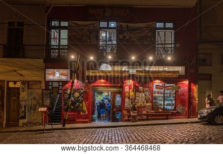 Valparaiso, Chile-february 27, 2020: Grocery Store At Night In The Old Town Of Valparaiso, Chile