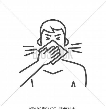Cough Related Vector Thin Line Icon. Man Coughs In A Napkin. Isolated On White Background. Editable